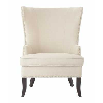 More Linen Oatmeal Wing Back Chair - Home Depot
