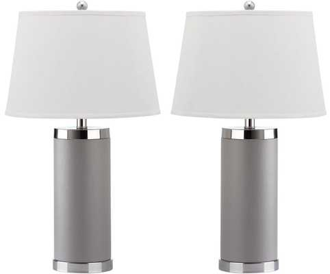 LEATHER COLUMN TABLE LAMP - SET OF 2 - Arlo Home