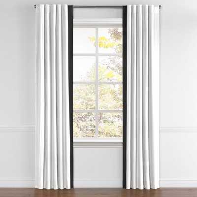 Back Tab Drapery  Classic Linen Pure - White and edge border black -87''x75'' - Loom Decor
