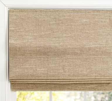 "Emery Linen/Cotton Cordless Roman Shade, 26 x 64"", Oatmeal - Pottery Barn"