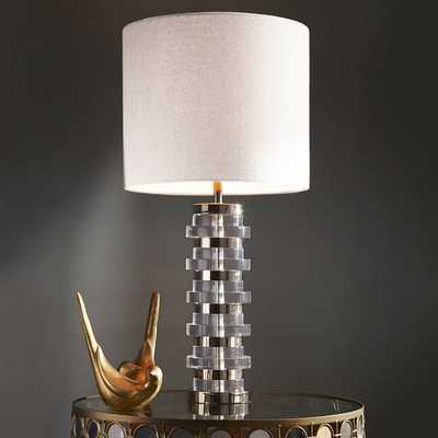 Clear Disc Table Lamp - Large (Polished Nickel/White Linen) - West Elm
