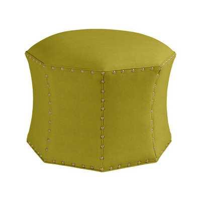 Custom - Keelie Octagon Ottoman - Soho Velvet Lemongrass, Brass Nailhead Trim - Ballard Designs