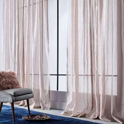 Sheer Metallic Printed Curtain - Dusty Blush - West Elm