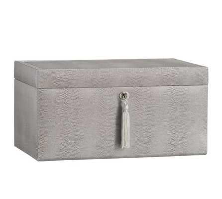 McKenna Leather Large Jewelry Box, Gray - Pottery Barn