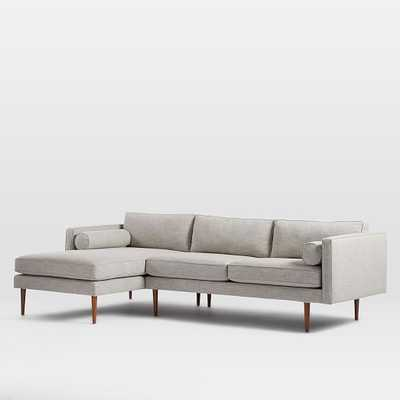 Monroe Mid-Century 2-Piece Chaise Sectional - Left Chaise 2-Piece Sectional, Heathered Crosshatch, Feathered Gray - West Elm