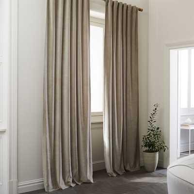 "Textured Upholstery Velvet Curtain, Light Taupe 48"" x 108"", unlined - West Elm"
