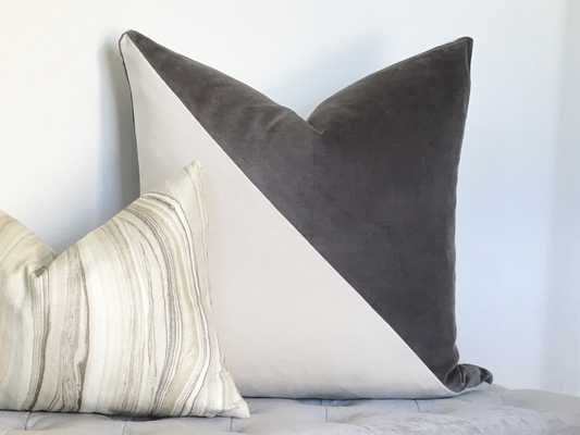 "Slash Velvet Pillow Cover - Gray 20""x20"" - Willa Skye"