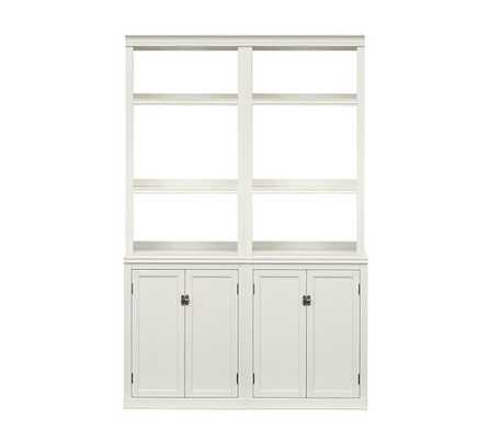 LOGAN BOOKCASE WITH DOORS, ANTIQUE WHITE - Pottery Barn