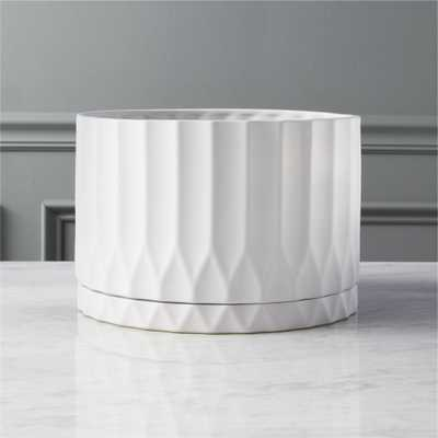 drum white planter - CB2