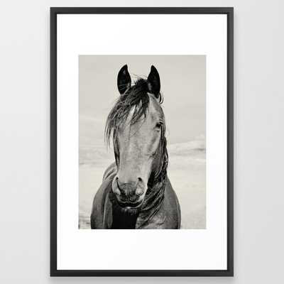 Black and White Horse Portrait FRAMED ART PRINT VECTOR BLACK LARGE (GALLERY) - Society6
