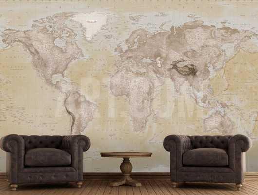 2015 NEUTRAL MAP WALLPAPER MURAL - art.com