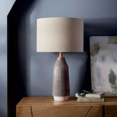 Roar + Rabbit™ Ripple Ceramic Table Lamp - Large Narrow (Warm Gray) - West Elm