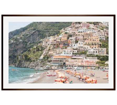 "Beach Days in Positano by Rebecca Plotnick,  28 x 42"", Wood Gallery Frame, Espresso, Mat - Pottery Barn"