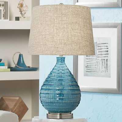 Kayley Blue Ceramic Table Lamp - Lamps Plus