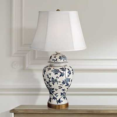 Rose Vine Blue and White Temple Jar Table Lamp - Lamps Plus