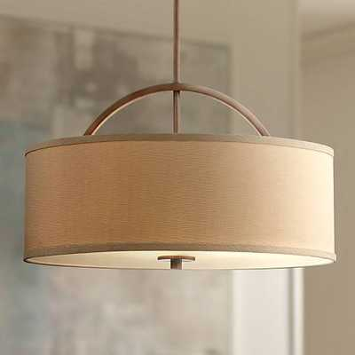 "Danville Linen Shade 20"" Wide Brushed Bronze Pendant Light - Lamps Plus"