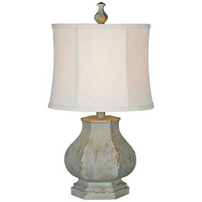 Forty West Fiona Distressed Seafoam Blue Table Lamp - Lamps Plus