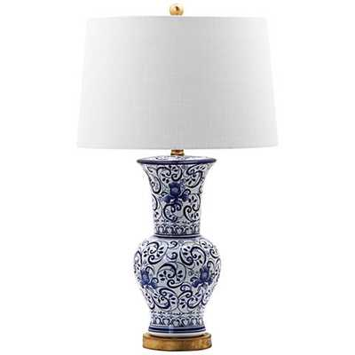 Norham Blue and White Vase Scroll Ceramic Table Lamp - Lamps Plus