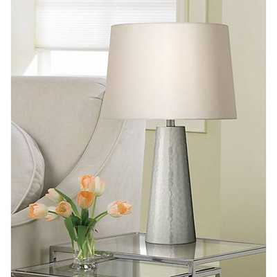 Silver Leaf Hammered Metal Cylinder Table Lamp - Lamps Plus
