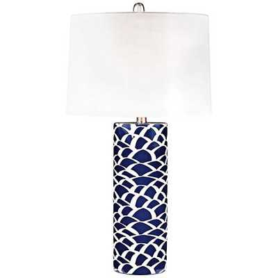 Scale Sketch Navy Blue and White Ceramic Table Lamp - Lamps Plus