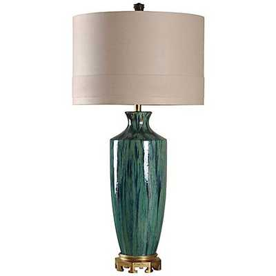 Manoca Reactive Glaze Blue and Green Ceramic Table Lamp - Lamps Plus