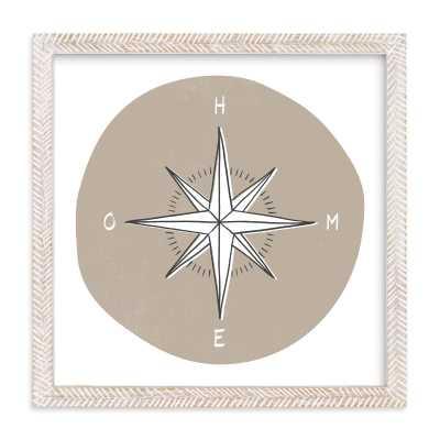 """""""traveler's compass"""" framed art print - 11""""x11"""", warm fog, whitewashed herringbone frame - Minted"""