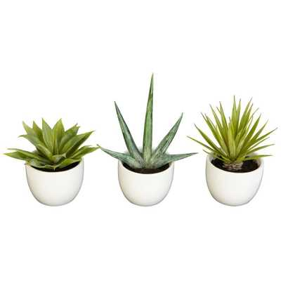 8.5 in. H Green Southwest Collection (Set of 3) - Home Depot