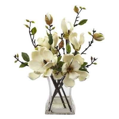 15 in. Magnolia Arrangement with Vase, Whites - Home Depot