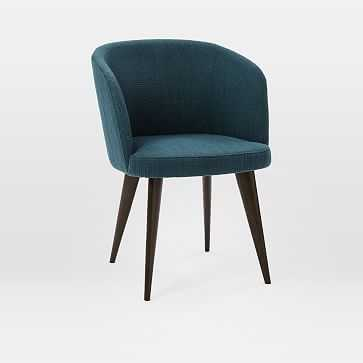 Abrazo Dining Chair, Twisted Slub, Teal, Dark Mineral - West Elm