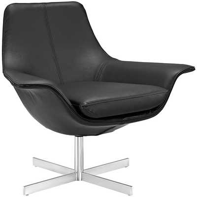 RELEASE BONDED LEATHER LOUNGE CHAIR IN BLACK - Modway Furniture