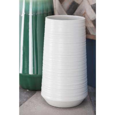 12 in. Ceramic Pear-Shaped Decorative Vase in White, Whites - Home Depot