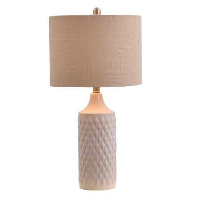 A-Street 26.5 in. White Ceramic Table Lamp with Linen Shade - Home Depot