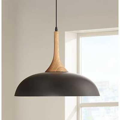 "Felton Black Aluminum and Wood 17 3/4"" Wide Pendant - Lamps Plus"