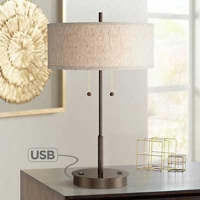 Nikola Bronze Metal Table Lamp with USB Port - Lamps Plus