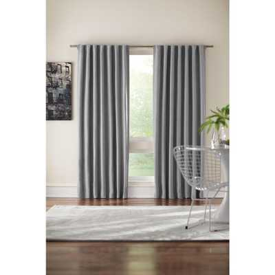 Home Decorators Collection Semi-Opaque Grey Velvet Lined Back Tab Curtain - 50 in. W x 95 in. L - Home Depot