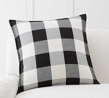 "Buffalo Check Plaid Pillow Cover, 24"", Black - Pottery Barn"