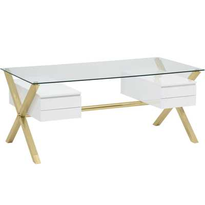 Beverly Large Desk, White/Gold Base - High Fashion Home