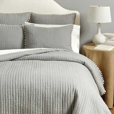 Ballard Designs Audree Pom Pom Quilt Gray King - Ballard Designs