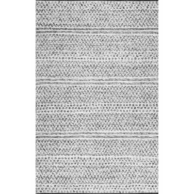 Natosha Chevron Striped Silver 5 ft. x 8 ft. Indoor/Outdoor Area Rug - Home Depot
