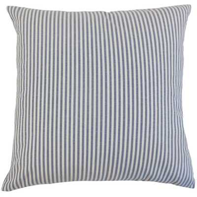 "Ira Stripes Pillow Navy - 22""x22"" - Down insert - Linen & Seam"