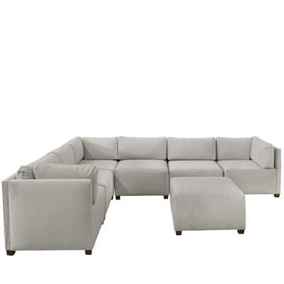 Third & Vine Velvet Light Grey Sectional Sofa - Third & Vine