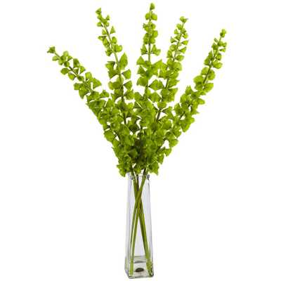 Indoor Bells of Ireland Silk Arrangement in Pyramid Glass Vase, Green - Home Depot