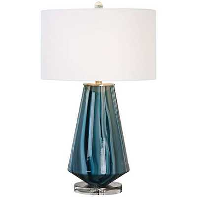 Uttermost Pescara Teal-Gray Glass Blue-Swirl Table Lamp - Lamps Plus