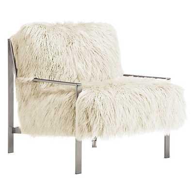 Axel Fur Accent Chair - Llama Snow White - Z Gallerie