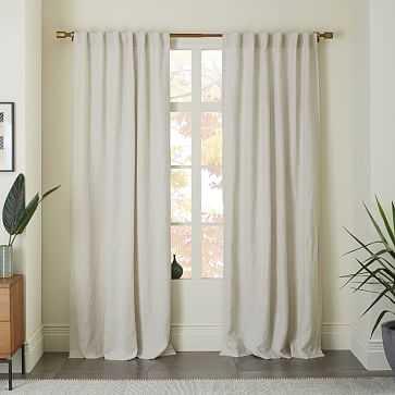 """Belgian Linen Curtain + Blackout Panel, Natural, 48""""x96"""" - West Elm"""