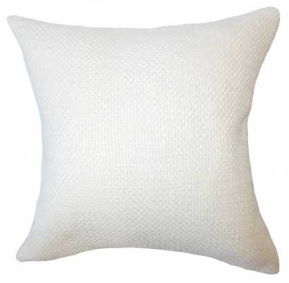 "Xabier Solid Pillow Antique White - 20"" x 20"" - W/ Poly Insert - Linen & Seam"