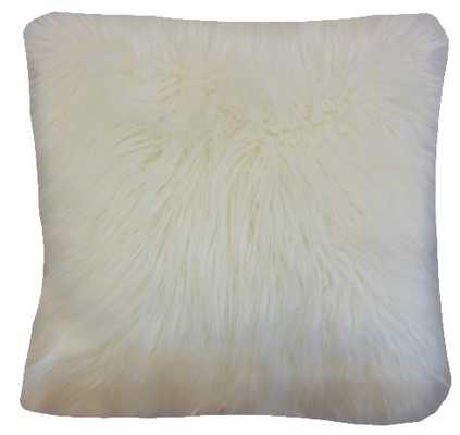 "Valeska Faux Fur Pillow Off White - 20"" x 20"" - Linen & Seam"