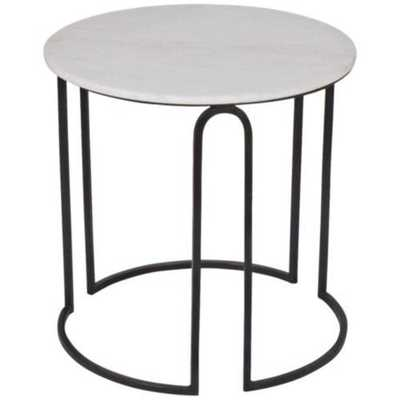 Darien Iron and Marble Top Round Side Table - High Fashion Home