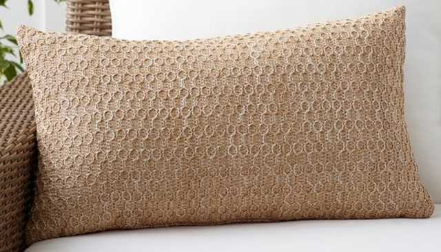 Honeycomb Faux Fiber Indoor/Outdoor Lumbar Pillow - Pottery Barn