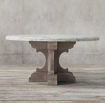 """17TH C. FRENCH BASTIDE OAK & MARBLE ROUND DINING TABLE-60""""Dia - RH"""